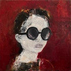 Linda Stojak Painting New Work Face in Sunglasses